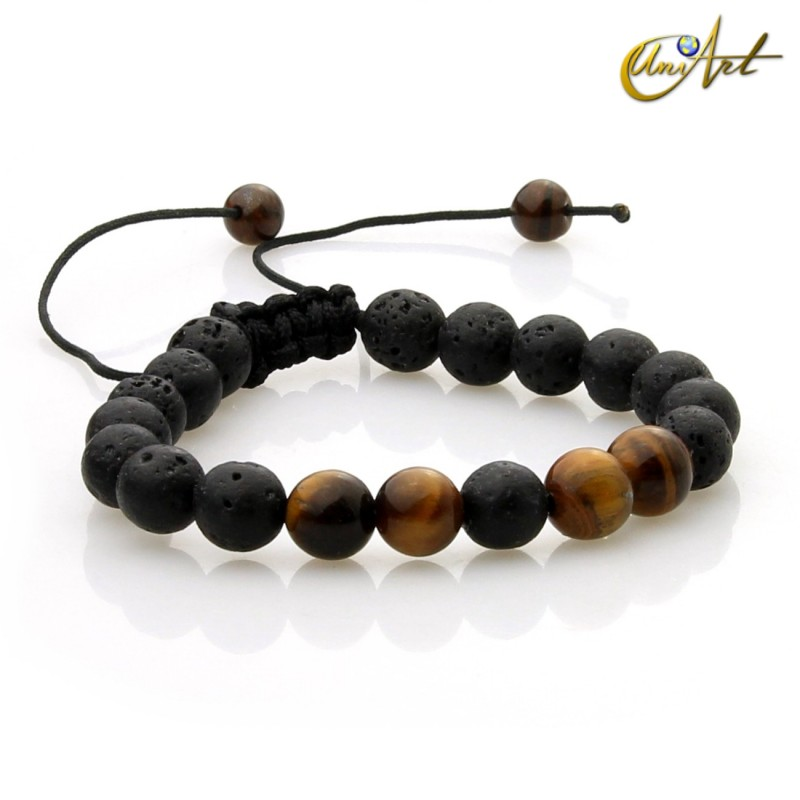 Volcanic stone and tiger eye bracelet, adjustable