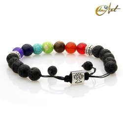 Adjustable volcanic stone bracelet with chakras colors