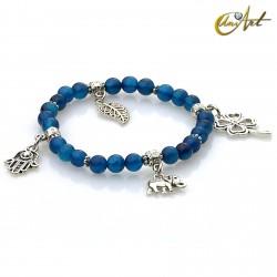 Charm Lucky bracelet - blue agate