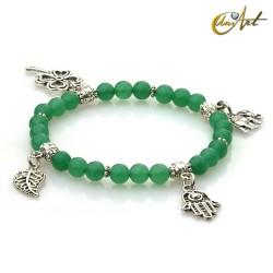 Pulsera de la suerte con cuatro dijes -  Jade verde