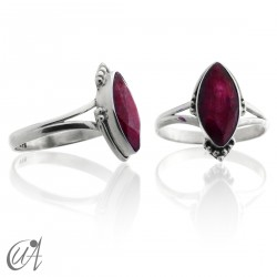 Marquise 925 silver and ruby ring