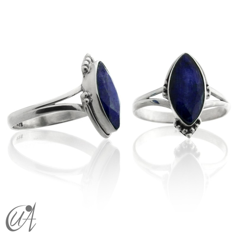 Sapphire and sterling silver, marquise ring