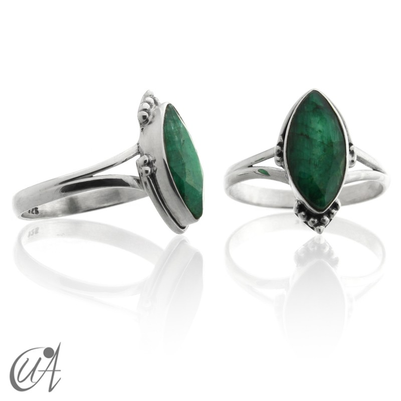 Sterling silver ring with marquise emerald
