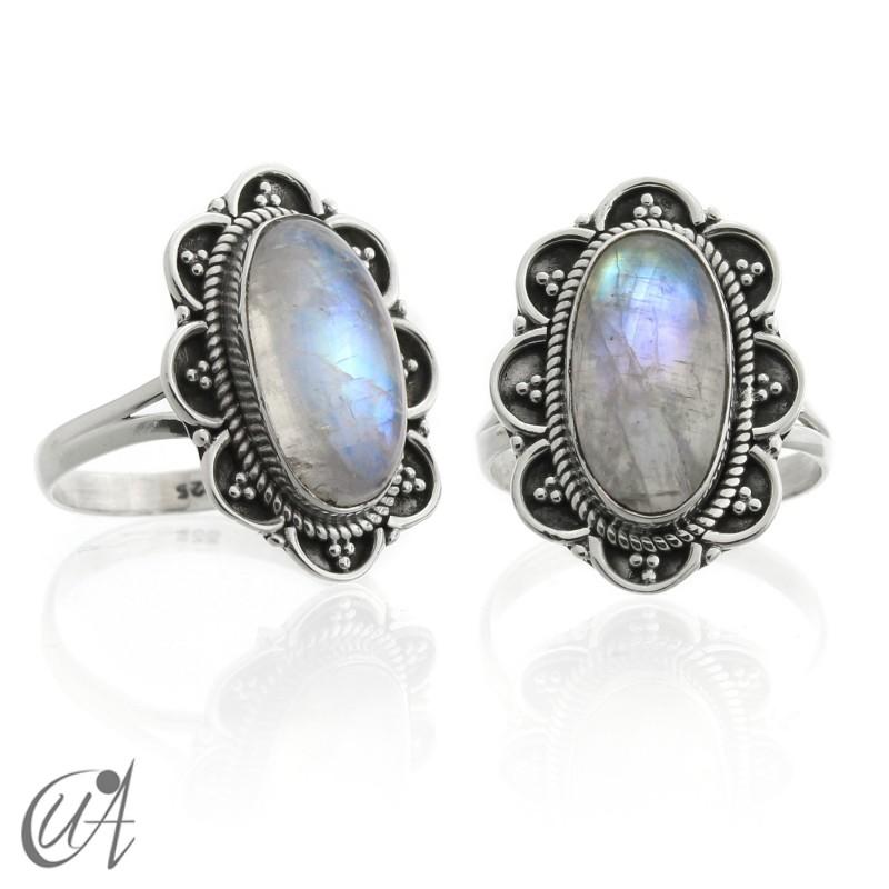Anillo vintage ovalado, plata 925 con piedra luna