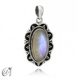 925 Silver and moonstone - Vintage Oval Pendant
