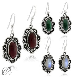 925 Silver with malachite - vintage oval earrings