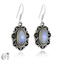 925 Silver with moonstone - vintage oval earrings