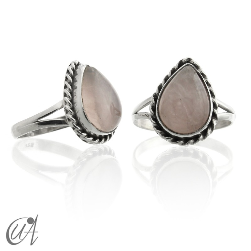925 Silver ring with rose quartz liana drop model
