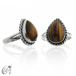 925 Silver ring with tiger eye drop - liana