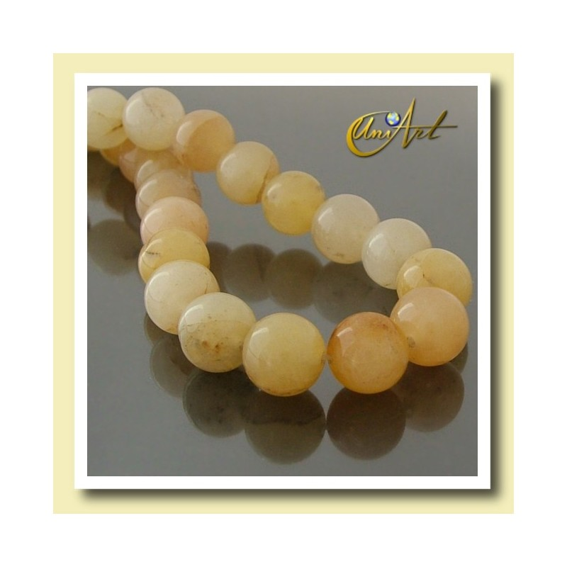 14 mm Round beads of Yellow Jade