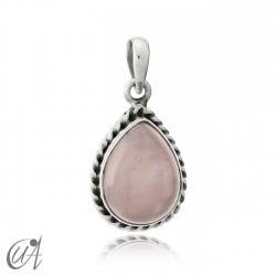 Colgante en plata 925 modelo gota liana - cuarzo rosa