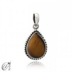 925 silver pendant liana drop model - tiger eye