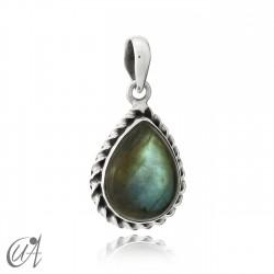 925 silver pendant liana drop model - labradorite