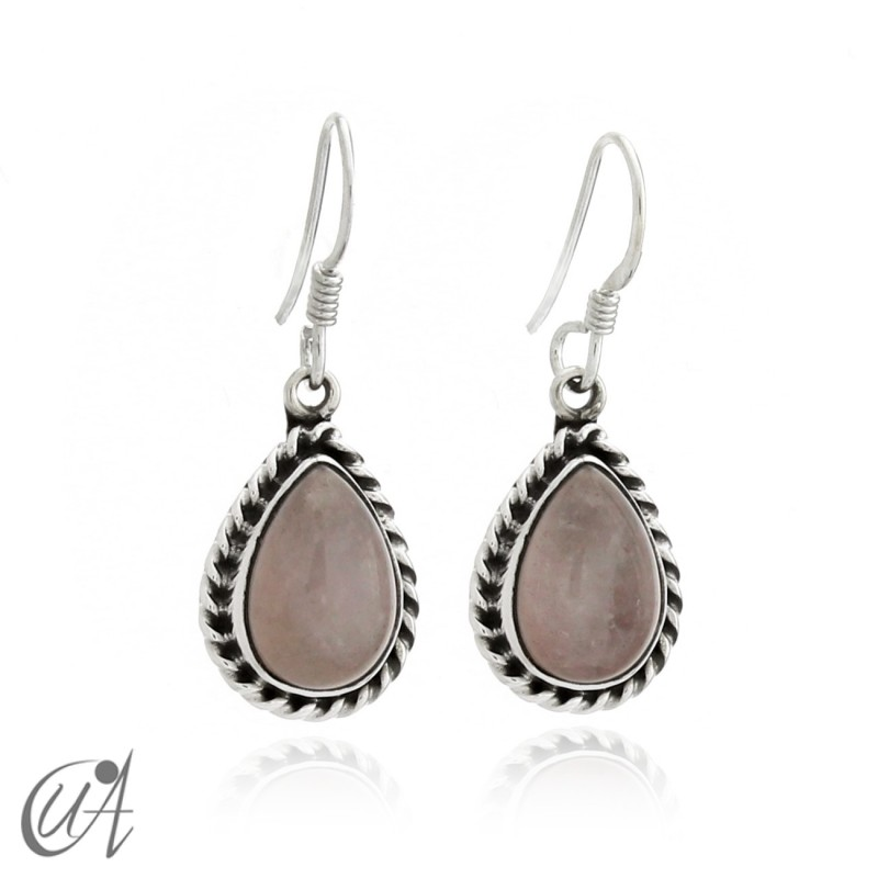 Earrings drop liana - Sterling silver and rose quartz