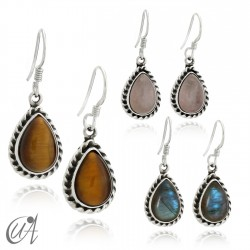 Earrings drop liana - Sterling silver - tiger eye