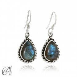 Earrings drop liana - Sterling silver - labradorite