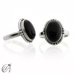 Anillo ónix negro y plata 925 - oval