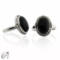 Oval black onyx ring with 925 silver