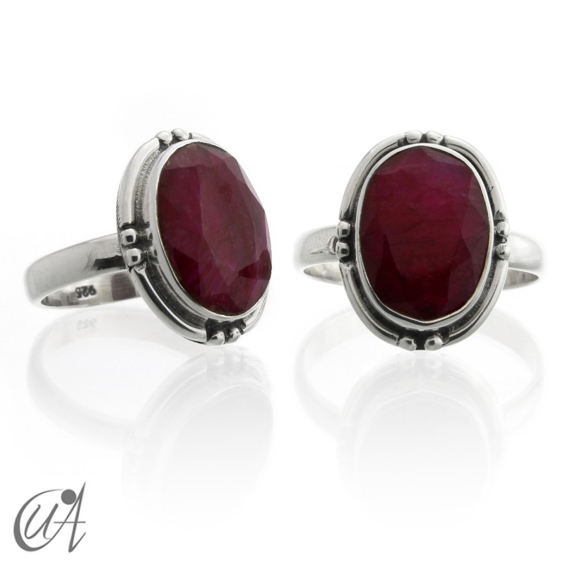 Ruby oval ring - sterling silver
