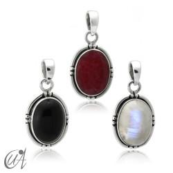 Plata 925 y piedras - colgante oval