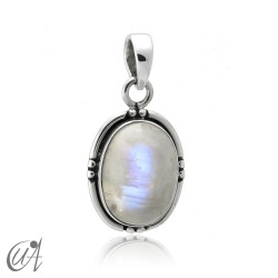 Silver and moonstone - oval pendant