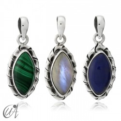 Kore marquise sterling silver pendant