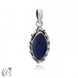 Kore marquise sterling silver pendant - lapis-lazuli