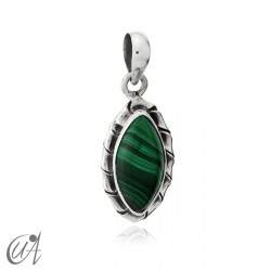 Kore marquise sterling silver pendant - malachite