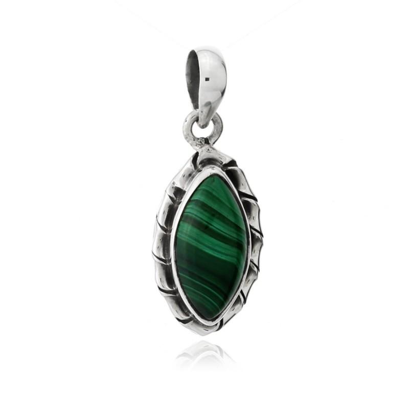 Kore marquise sterling silver pendant - malachite