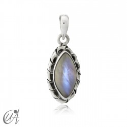 Kore marquise sterling silver pendant - moonstone