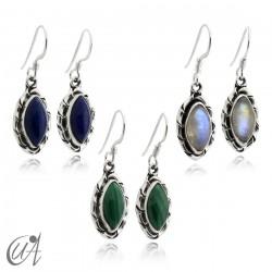 Pendientes marquesa de piedras semipreciosas con plata de ley modelo Kore