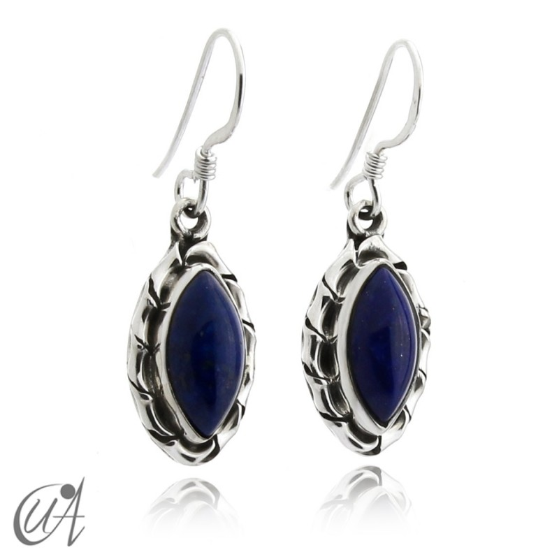 Lapis-lazuli marquise earrings in 925 silver - Kore model