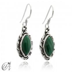 Malachite marquise earrings in 925 silver - Kore model