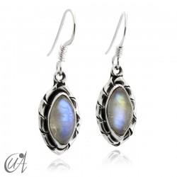Moonstone marquise earrings in 925 silver - Kore model