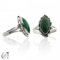 925 Silver ring with malachite - Kore marquise model