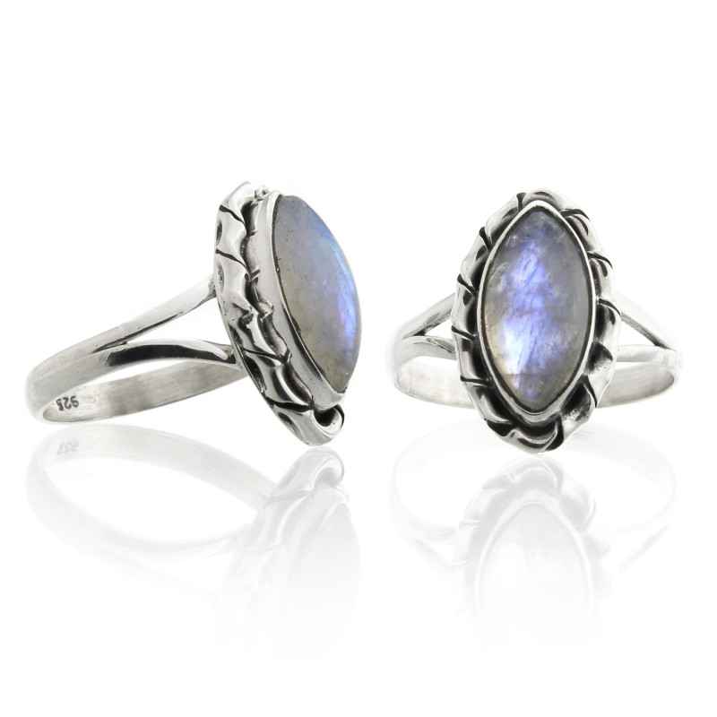 Sterling  silver moonstone ring, marquise Kore model