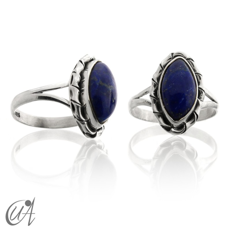 Lapis lazuli in 925 silver, marquise Kore model