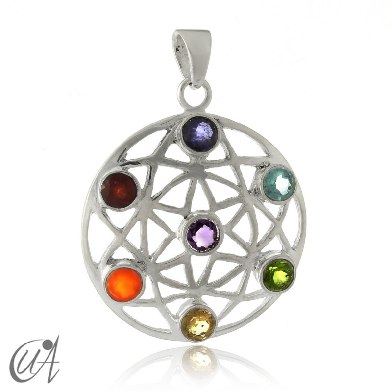 Pendant of the chakras in silver - seed of life
