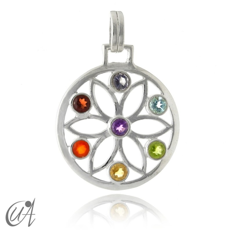 Sterling silver mandala with seven chakras stones