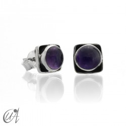 Square earrings in 925 silver and amethyst