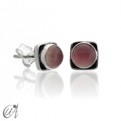 Square earrings in 925 silver and rose quartz