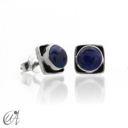 Square earrings in 925 silver and lapis lazuli