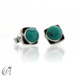 Square earrings in 925 silver and turquoise