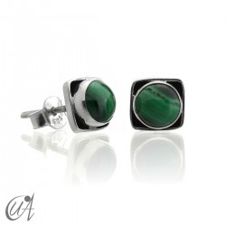 Square earrings in 925 silver and malachite