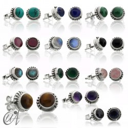 Gems and sterling silver, round earrings model Hecate