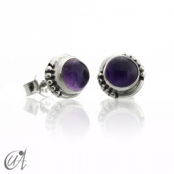 Amethyst and sterling silver, round earrings model Hecate
