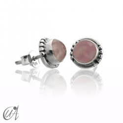 Rose quartz and sterling silver, round earrings model Hecate