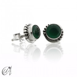 Emerald and sterling silver, round earrings model Hecate