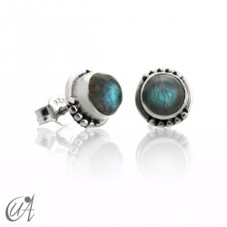 Labradorite and sterling silver, round earrings model Hecate