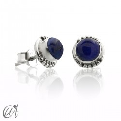 Lapis lazuli and sterling silver, round earrings model Hecate
